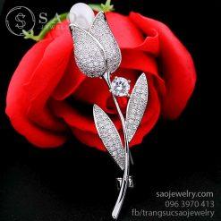 Cài áo bông hồng bằng bạc cao cấp