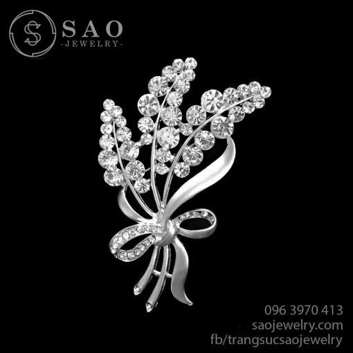 Cài áo bạc nhành hoa đính đá