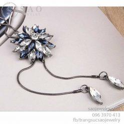 Dây chuyền dài hoa đính đá pha lê xanh