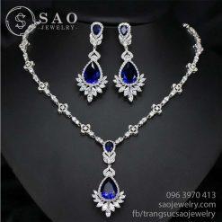 Bộ trang sức bạc đính kim cương swarovski SHBTS05