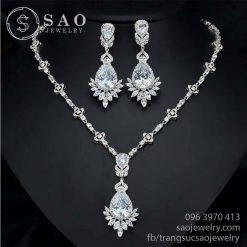 Bộ trang sức bạc đính kim cương swarovski SHBTS10