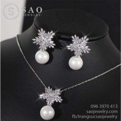 Bộ trang sức bạc hoa tuyết ngọc trai cao cấp SHBTS11