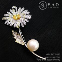 Cài áo bạc hoa hướng dương đính ngọc trai SHCA43