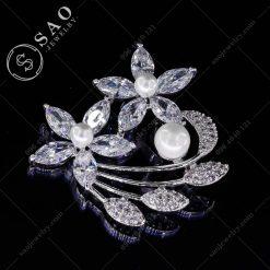 CÀI ÁO VEST NỮ bạc 925 hoa pha lê sang trọng