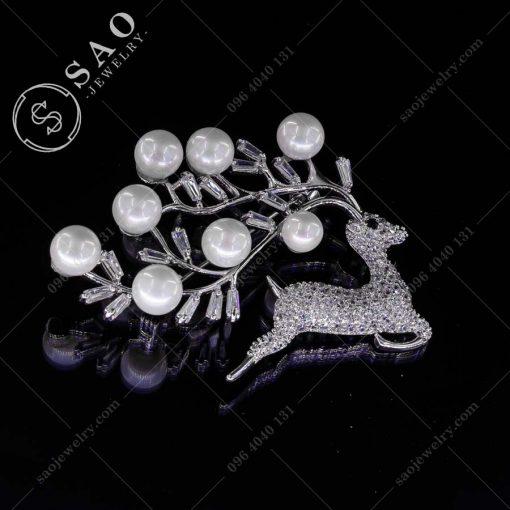 CÀI ÁO VEST NỮ tuần lộc bạc 925 ngọc trai cao cấp