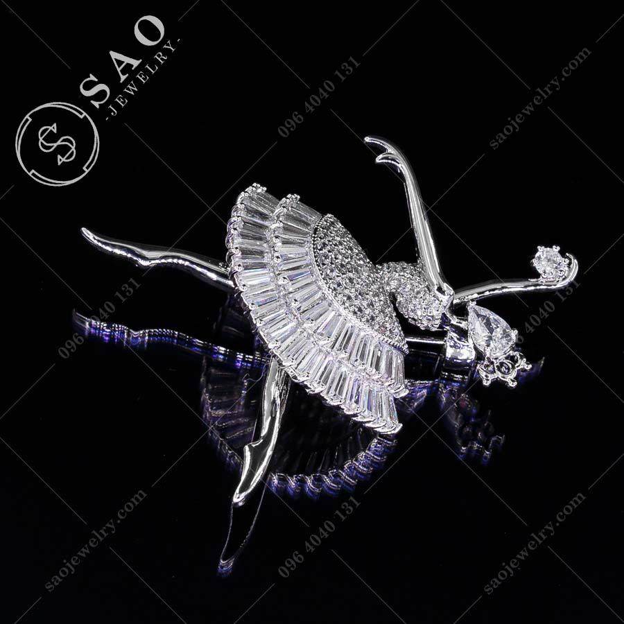 GHIM CÀI ÁO VEST NỮ công chúa bạc 925 hàn quốc