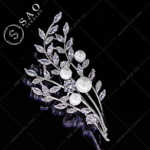 GHIM CÀI ÁO VEST NỮ cành lá pha lê đính hạt ngọc sang trọng