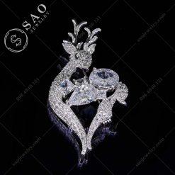 GHIM CÀI ÁO VEST NỮ nai bạc 925 pha lê cao cấp
