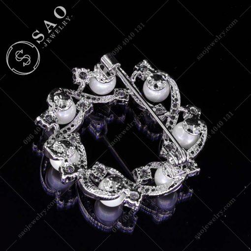 GHIM CÀI ÁO VEST NỮ bạc 925 vòng ngọc trai sang trọng