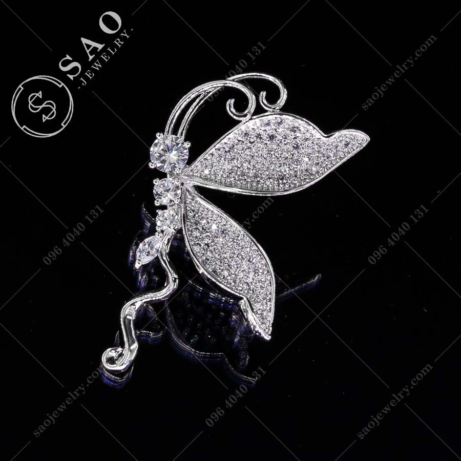 GHIM CÀI ÁO VEST NỮ Tinker Bell bạc 925 cao cấp