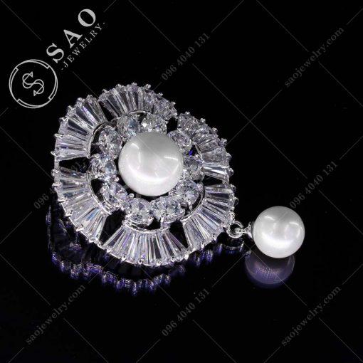 GHIM CÀI ÁO VEST NỮ bạc 925 vòng pha lê sang trọng