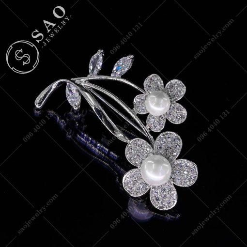 HOA CÀI ÁO đôi hoa bạc 925 đính ngọc trai cao cấp