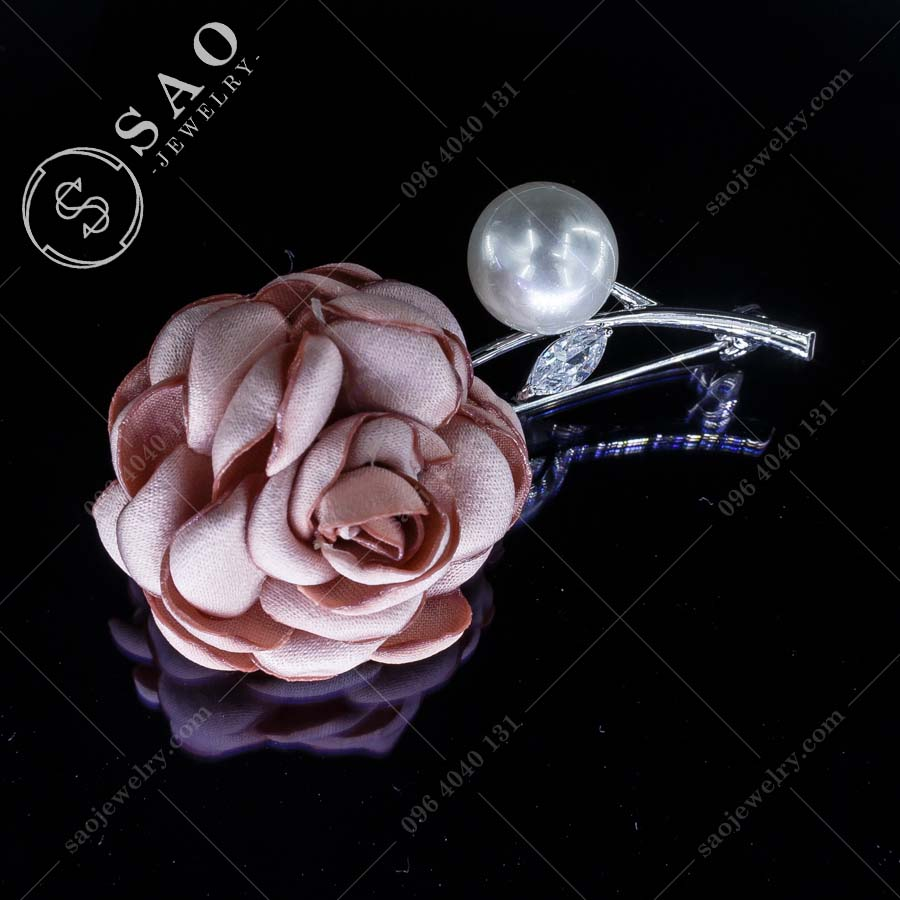 HOA CÀI ÁO hồng bạc 925 sang trọng