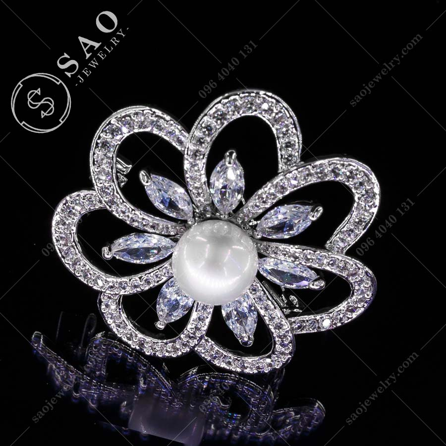 HOA CÀI ÁO bạc 925 thời trang