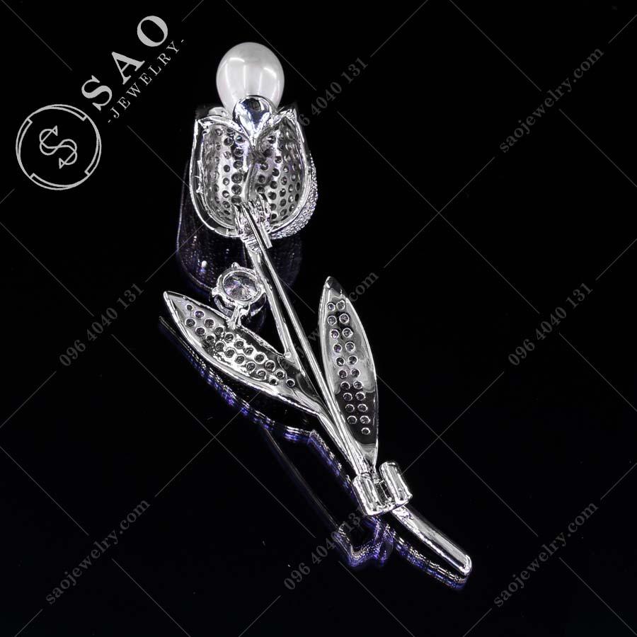 HOA CÀI ÁO Tulip bạc 925 đính hạt ngọc cao cấp
