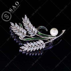 PHỤ KIỆN CÀI ÁO NỮ bạc 925 nhành lúa đính pha lê sang trọng