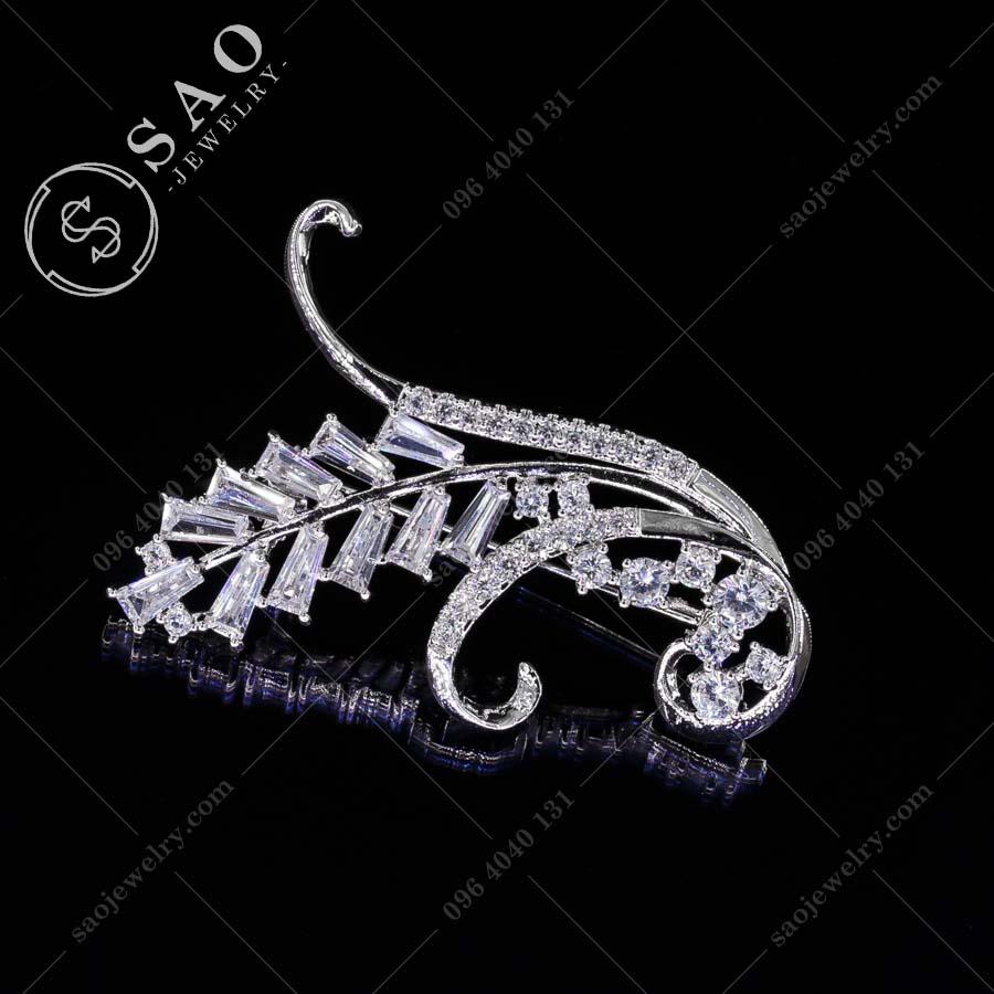 GHIM CÀI ÁO VEST NỮ bạc 925 bông lúa thời trang