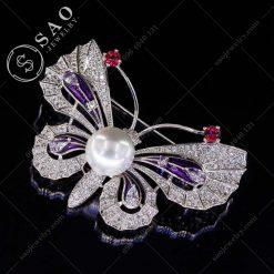 PHỤ KIỆN CÀI ÁO NỮ bướm bạc sang trọng