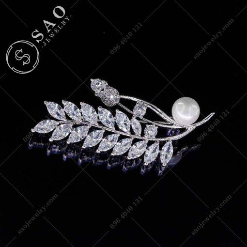 GHIM CÀI ÁO VEST NỮ bạc 925 cành hồng đơm hoa cao cấp