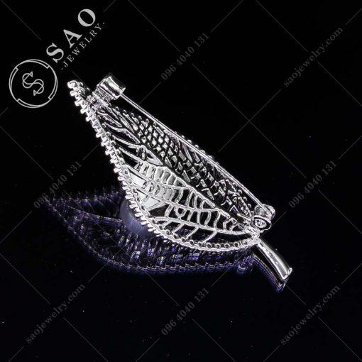 PHỤ KIỆN CÀI ÁO NỮ chiếc lá bạc 925 hàn quốc