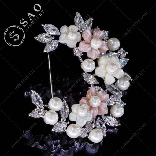 PHỤ KIỆN CÀI ÁO NỮ bạc 925 dải hoa ngọc trai pha lê cao cấp