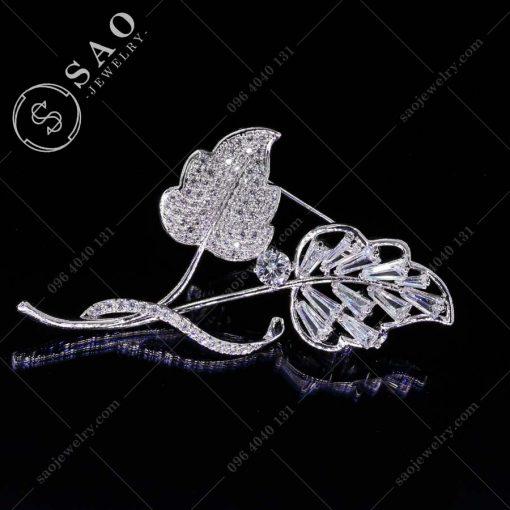 GHIM CÀI ÁO VEST NỮ đôi lá bạc 925 sang trọng
