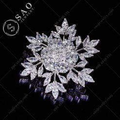 GHIM CÀI ÁO VEST NỮ bạc 925 hoa tuyết sang trọng