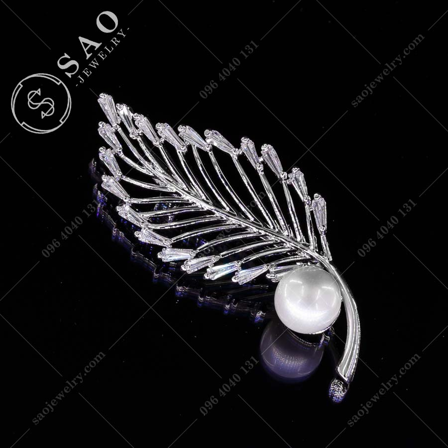 PHỤ KIỆN CÀI ÁO NỮ lá bạc 925 viền pha lê cao cấp