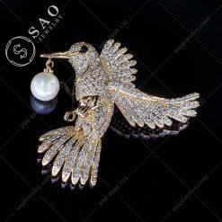 PHỤ KIỆN CÀI ÁO NỮ mạ vàng chim bồ câu sang trọng