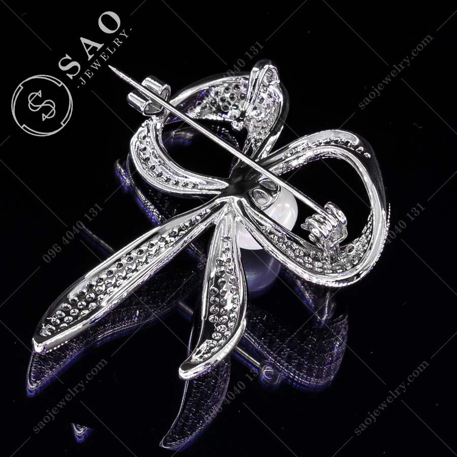 PHỤ KIỆN CÀI ÁO NỮ nơ xinh bạc 925 cao cấp