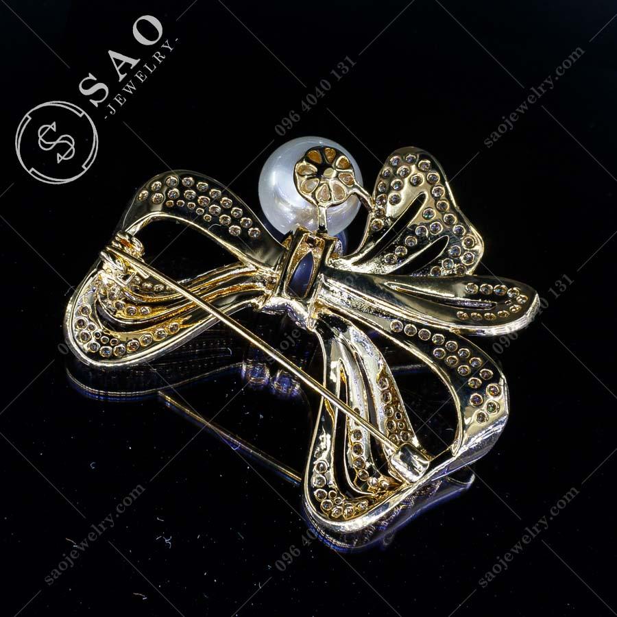 PHỤ KIỆN CÀI ÁO NỮ nơ xinh mạ vàng cao cấp