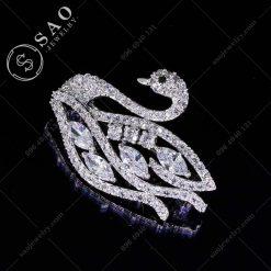 PHỤ KIỆN CÀI ÁO NỮ thiên nga bạc 925 cao cấp