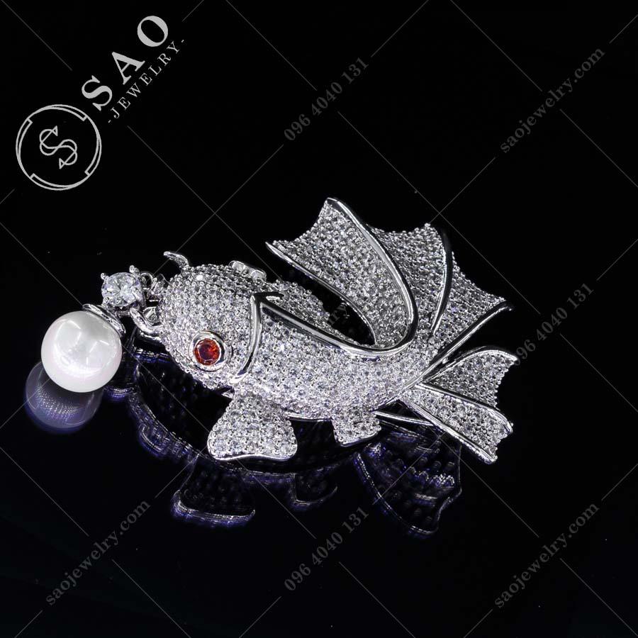 PHỤ KIỆN CÀI ÁO cá may mắn bạc 925 cao cấp
