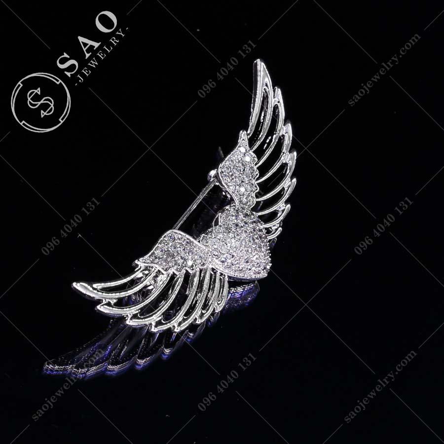 PHỤ KIỆN CÀI ÁO đôi cánh thiên thần bạc 925 thời trang