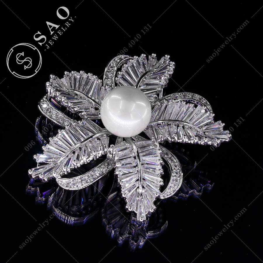 PHỤ KIỆN CÀI ÁO hoa lá bạc 925 pha lê cao cấp