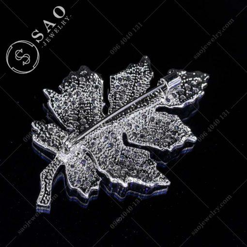 PHỤ KIỆN CÀI ÁO lá phong bạc 925 đính đá hàn quốc
