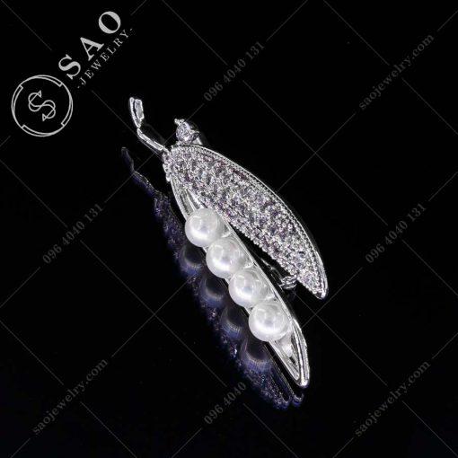 PHỤ KIỆN CÀI ÁO trái đậu bạc 925 thời trang