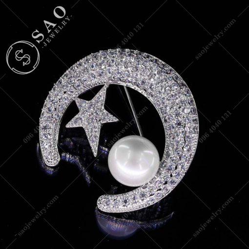 PHỤ KIỆN CÀI ÁO trăng sao bạc 925 cao cấp