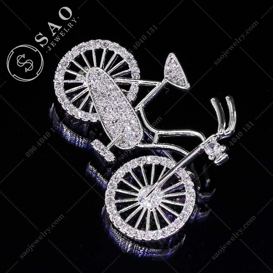 PHỤ KIỆN CÀI ÁO xe đạp bạc 925 hàn quốc