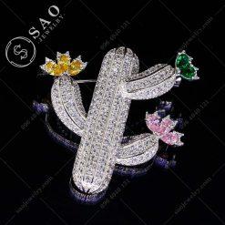 PHỤ KIỆN CÀI ÁO xương rồng nở hoa bạc 925 hàn quốc