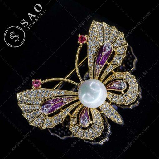 PHỤ KIỆN CÀI ÁO NỮ bướm mạ vàng sang trọng