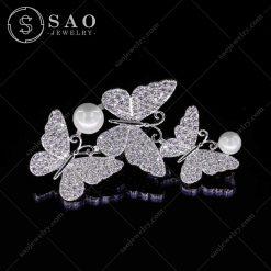 Cài áo hàn quốc bạc 925 đàn bướm lớn đá zircon cao cấp CA77