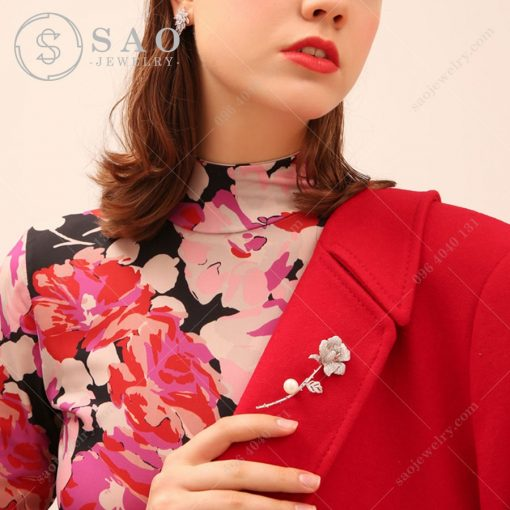 Hoa cài áo cành hồng bạc 925 cao cấp CA65T