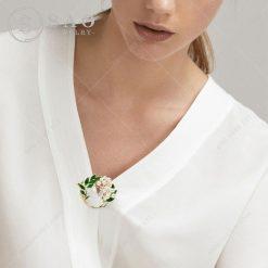 Phụ kiện cài áo nữ vòng hoa hạt ngọc CA207