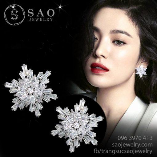 Bông tai đá zircon hoa tuyết bạc cao cấp