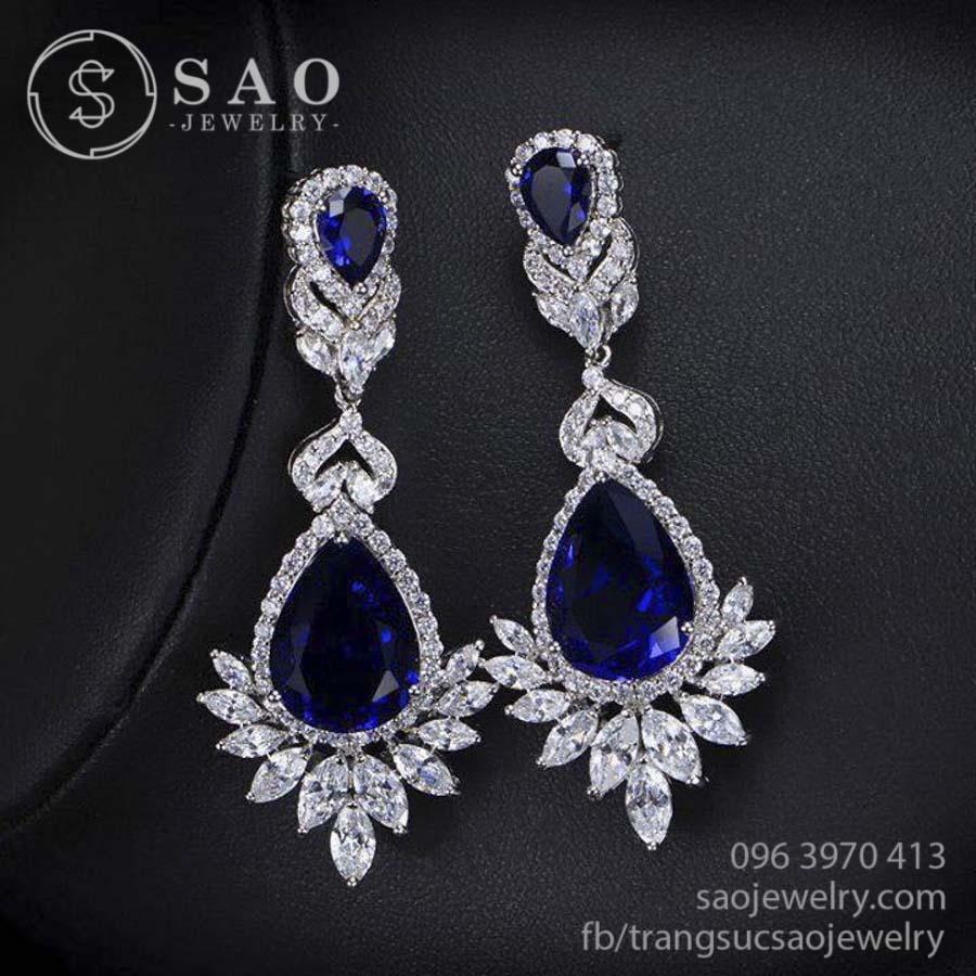Bông tai bạc 925 đá kim cương Swaroski cao cấp SHBT44