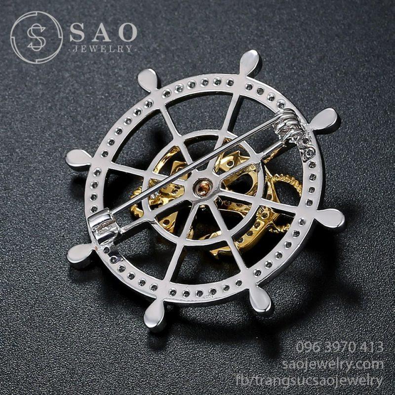 Cài áo bánh lái mỏ neo mạ vàng bạch kim cao cấp SHCA45