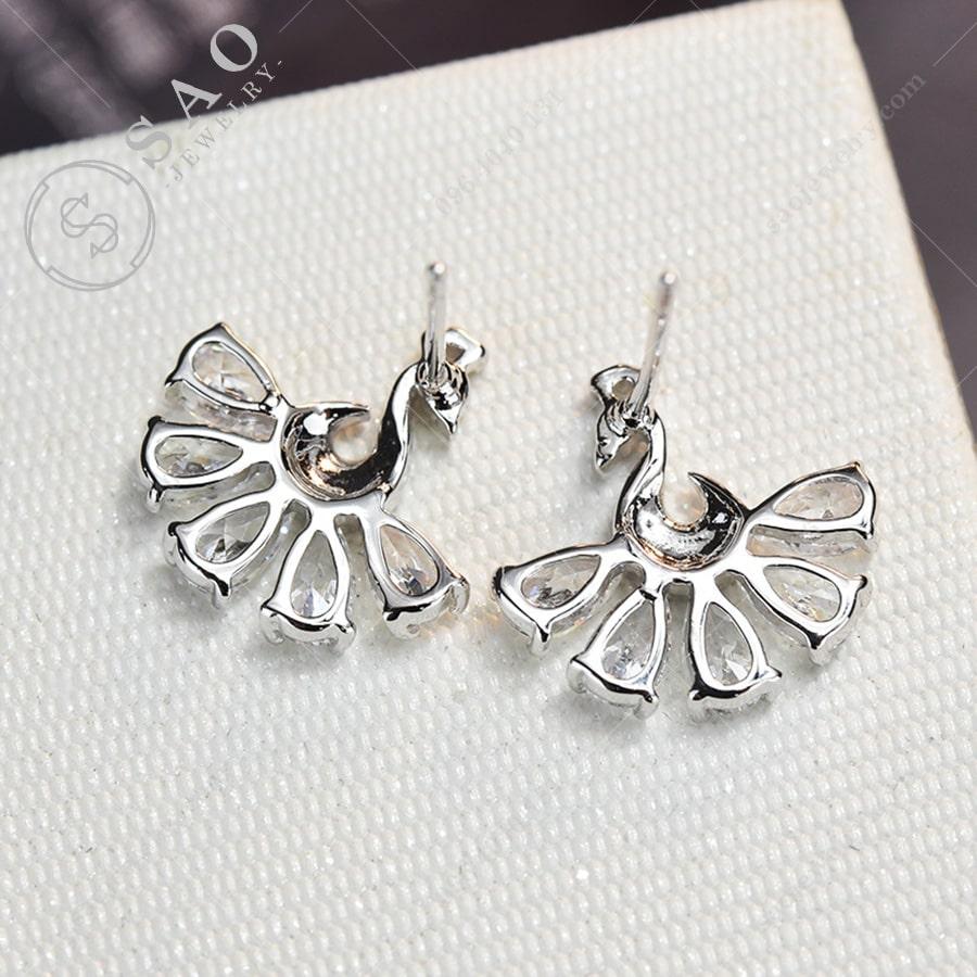 Bông tai chim công bạc 925Bông tai chim công bạc 925