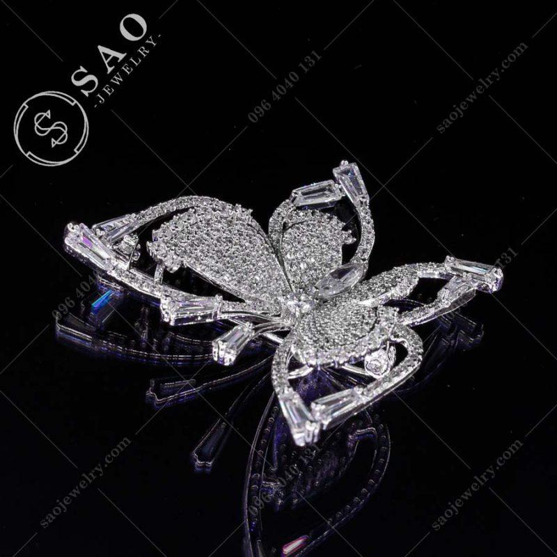 GHIM CÀI ÁO VEST NỮ bướm bạc 925 sang trọng