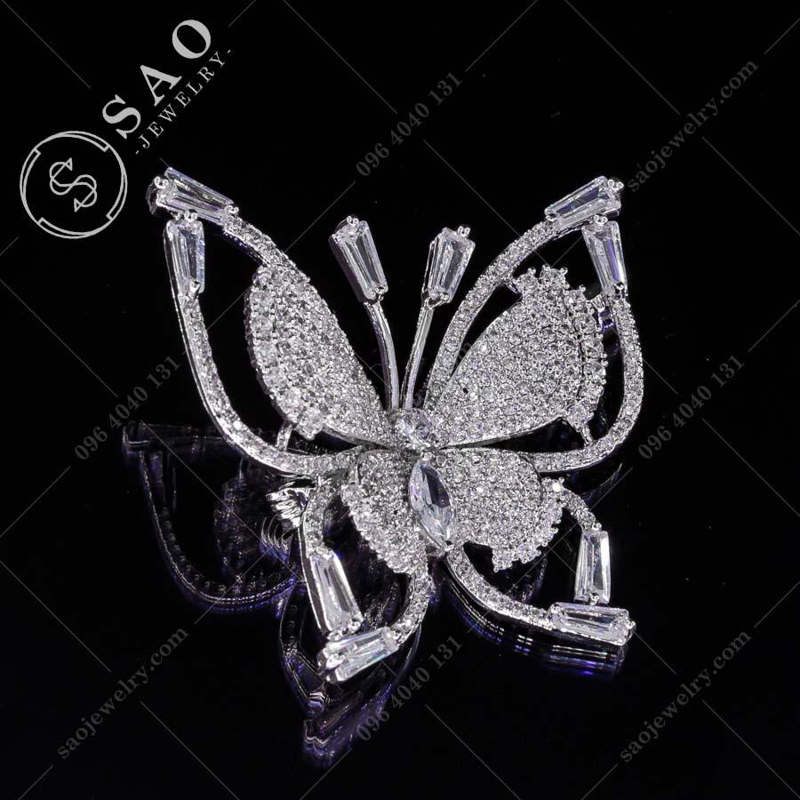 GHIM CÀI ÁO VEST NỮ bướm bạc 925 sang trọngGHIM CÀI ÁO VEST NỮ bướm bạc 925 sang trọng